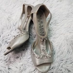 Silver pumps with beading size 8